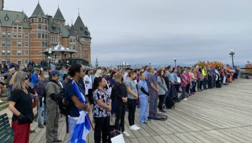 1,000 Quebec Front-Line Workers, First Responders Hold Silent Rally to Protest Vaccine Mandates